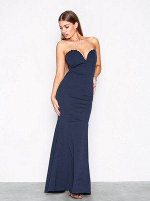 Missguided Scuba Fishtail Maxi Dress Navy