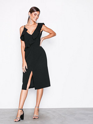 True Decadence Short Sleeve Frill Dress Black