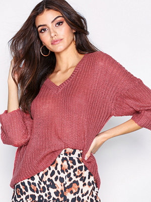 Only onlSAN Diego 3/4 V-Neck Pullover Kn Rosa