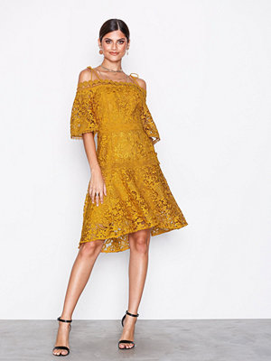 True Decadence Cold Shoulde Lace Dress Mustard