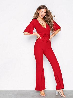 Missguided Plunge Kimono Sleeve Jumpsuit Red