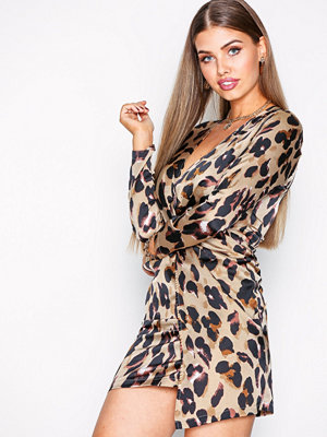 Missguided Satin Animal Print Dress