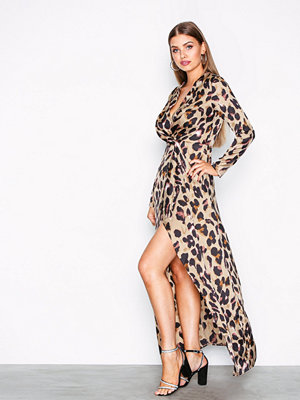 Missguided Print Wrap Front Shift Maxi Dress Leopard