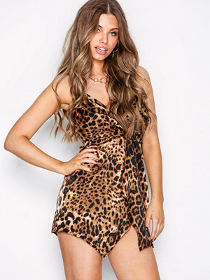 Missguided Animal Print Twist Front Strappy Mini
