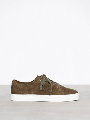 Topshop City Lace Up Trainers Khaki