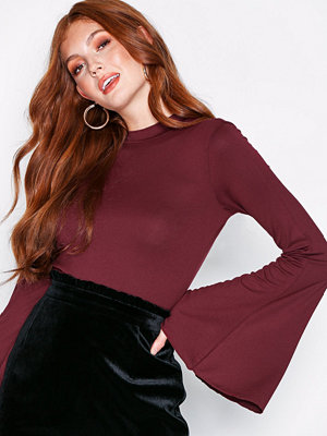 NLY Trend Wide Sleeve Polo Top Burgundy