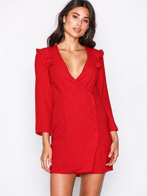 Topshop Button Wrap Mini Dress Red