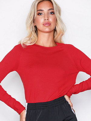 Only onlMILA Lacy L/S Pullover Knt Noos Röd