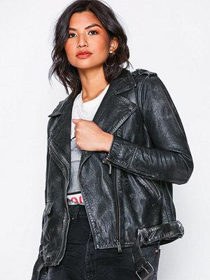 One Teaspoon Unhinged Leather Jacket Black