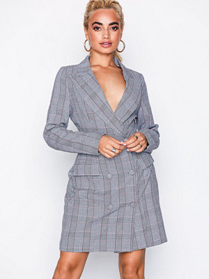 Missguided Check Button Detail Dress Grey