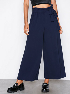 Topshop marinblå byxor Tie Side Culottes Navy Blue