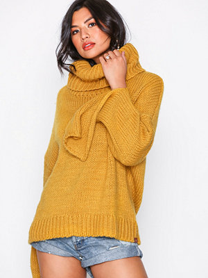 One Teaspoon Winona Keyhole Roll Neck Sweater Mustard