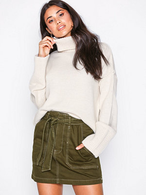 Topshop Denim Utility Skirt Khaki