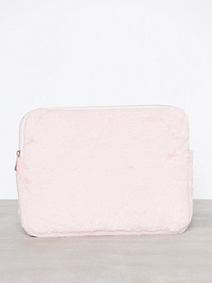 New Look cremefärgad datorväska 12 Inch Faux Fur Laptop Case Pale Pink