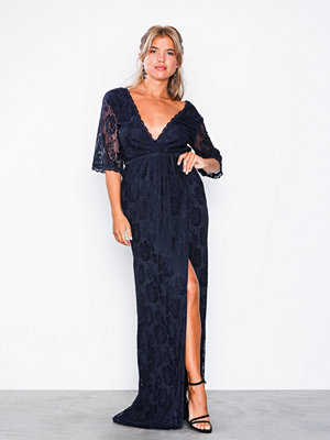 NLY Eve Forever Lace Wrap Gown Navy