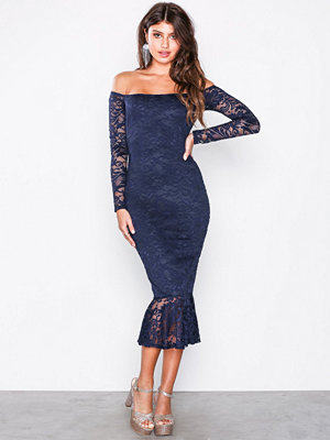 Missguided Lace Bardot Fishtail Midi Dress Navy