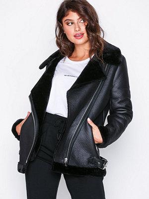 New Look Fur Lined Aviator Jacket Black