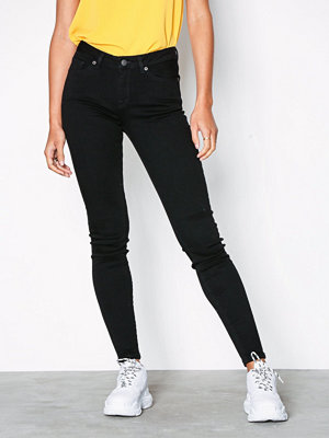 Selected Femme Slfida Mw Skinny Black Jeans W Noo Svart