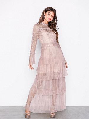 True Decadence Long Sleeve Frill Maxi Dress Light Pink