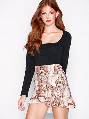 NLY One Frill Mini Print Skirt Snake
