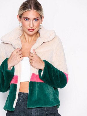 Glamorous Color Block Faux Fur Jacket Multi