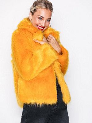 Topshop Faux Fur Coat Mustard