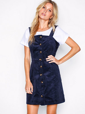 Glamorous Button Down Pinafore Dress Navy
