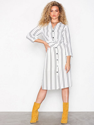 River Island LS Waisted Shirt Dress Ivory