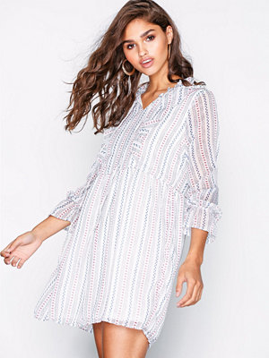 Only onlLINNE L/S Frill Dress Wvn Vit