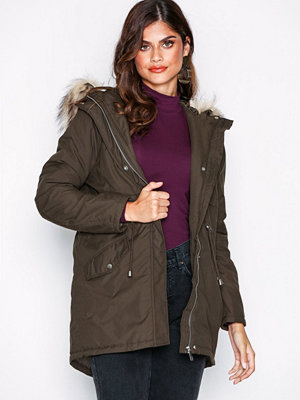 New Look Faux Fur Trim Hooded Parka Khaki