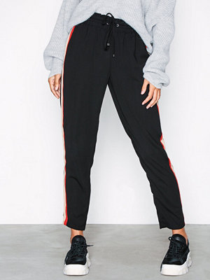 New Look svarta byxor Side Stripe Shirred Waist Trousers