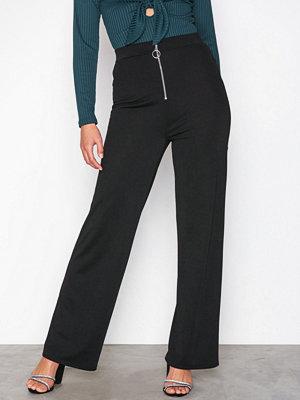 NLY Trend svarta byxor Zip Wide Pants Svart