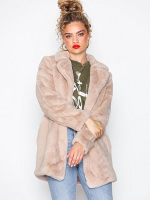 New Look Faux Fur Coat Pale Pink