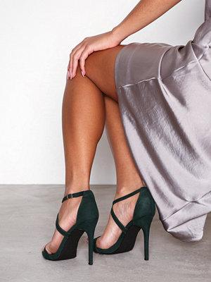 New Look Suedette Strappy Stiletto Heel Sandals Dark Green