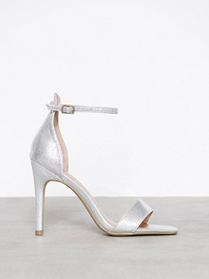 New Look Shimmer Ankle Strap Stiletto Sandals Silver