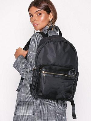 New Look ryggsäck Nylon and Leather-Look Backpack Black