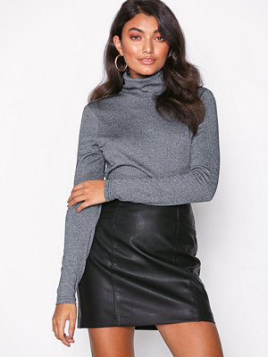 New Look Leather-Look Mini Skirt Black