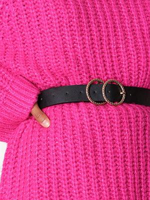 New Look Embossed Circle Buckle Belt Black