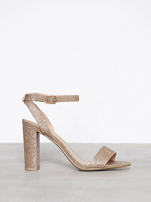 New Look Glitter Block Heel Sandal Gold