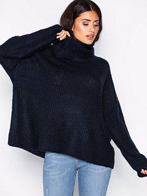 Jacqueline de Yong Jdydaisy L/S High Neck Pullover Knt Mörk Blå