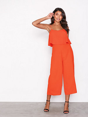 New Look Layered Wide Leg Party Jumpsuit Orange