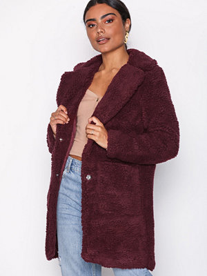New Look Teddy Coat Wine