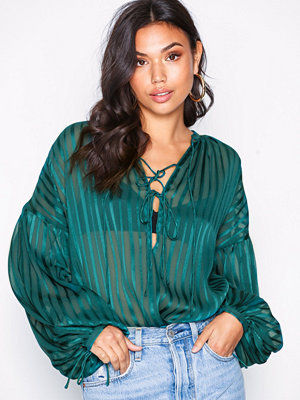 NLY Trend Sheer Fancy Blouse Teal