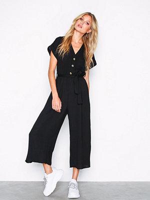 New Look Linen-Look Button Up Culotte Jumpsuit Black