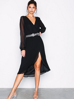 NLY Trend Sheer Wrap Dress Svart