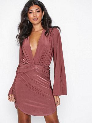 NLY One Flowy Sleeve Solid Dress Dark Pink
