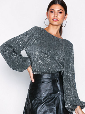 NLY Trend Balloon Sleeve Sequin Top Silver