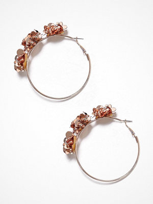 River Island örhängen Sequin Flower Pretty Hoop Orange