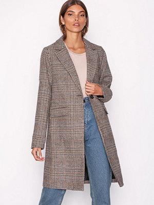 New Look Check Revere Collar Coat Brown