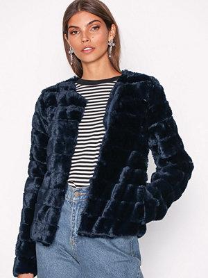 Fuskpälsjackor - Vero Moda Vmavenue Faux Fur Short Jacket Boos Mörk Blå